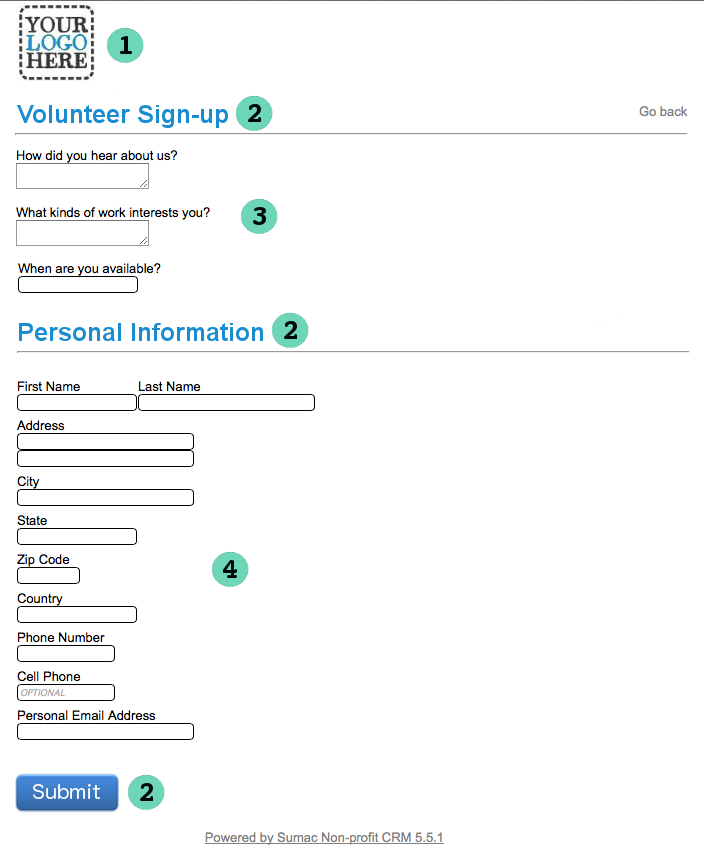 volunteer signup form