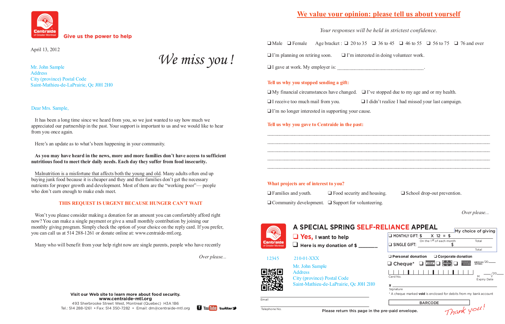 front of letterorder form survey monthly giving