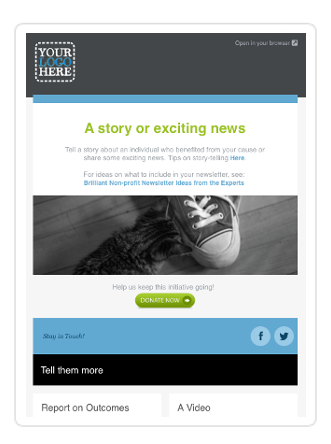 non profit newsletter template blue - Newsletter Templates